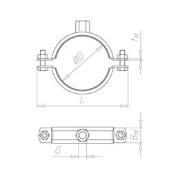 Pipe clamp TIPP<SUP>®</SUP> heavy-duty - C2C - PIPCLMP-MASSIV-M16-(267-277MM)