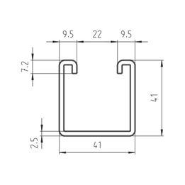 VARIFIX<SUP>® </SUP>c-assembly rail 41/41 - C2C - MNTRL-C-41/41-TH2,5-3M