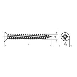 WÜPOFAST<SUP>®</SUP>, blue galvanised Particle board screw - SCR-CS-WO-Z1-(A2K)-2,4X16